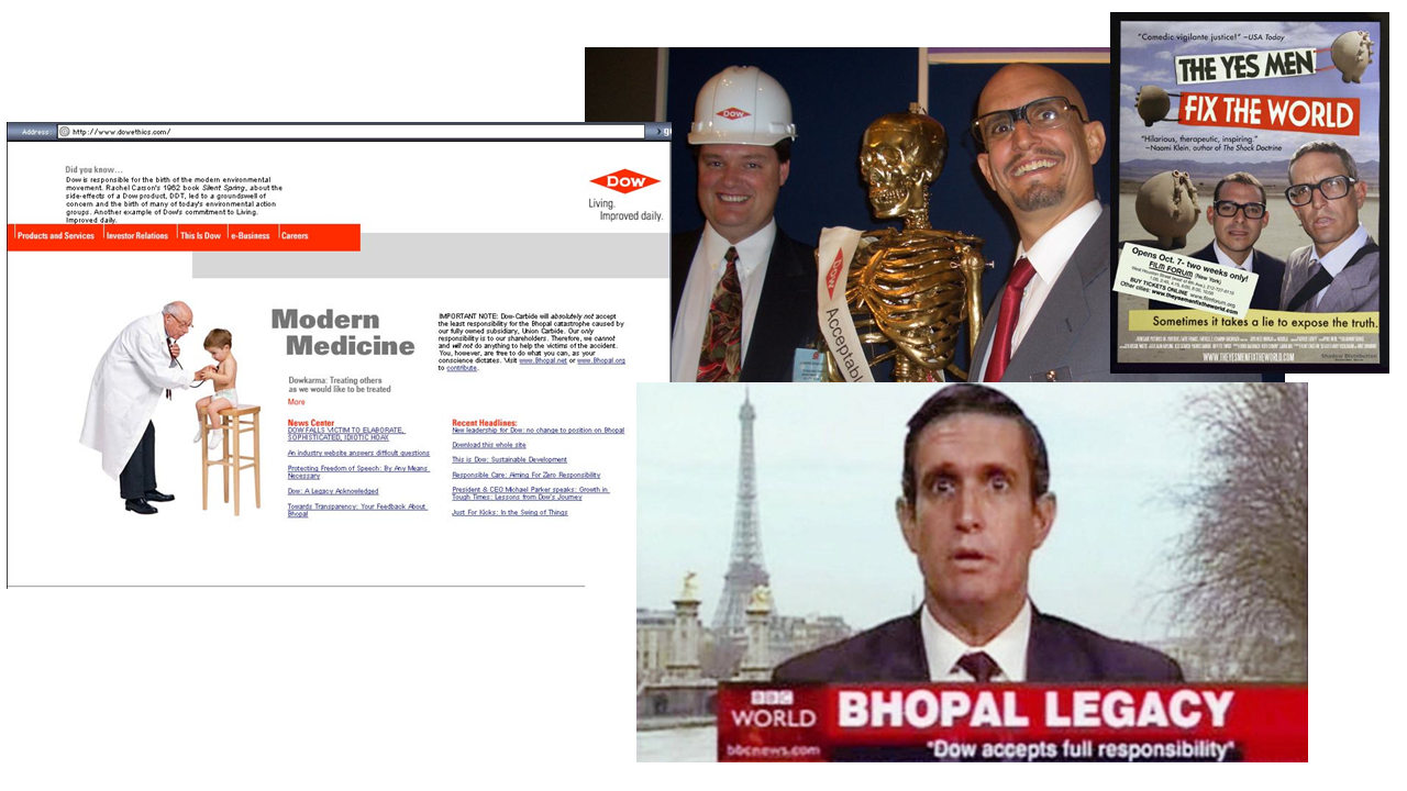 hacktivism - yes men - dow chemical cares