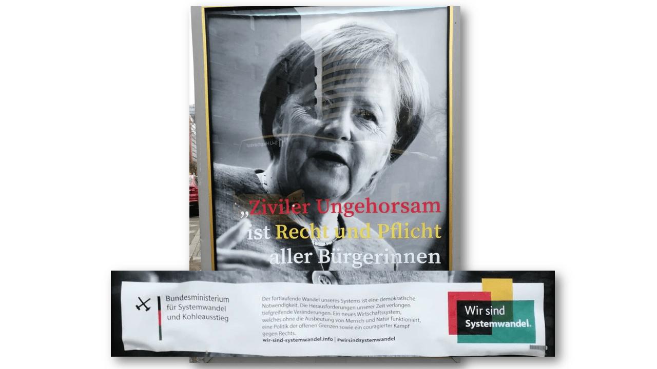 culture jamming - billboards - politicians - merkel